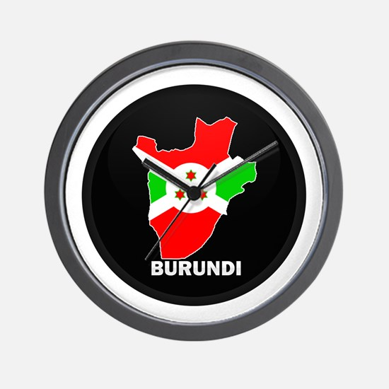 Flag Map of Burundi Wall Clock