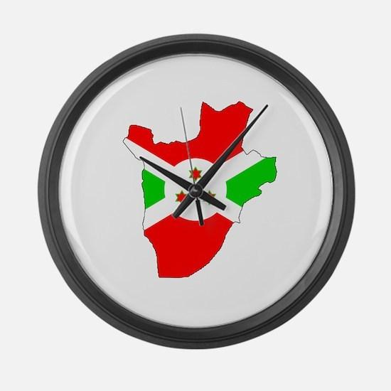 Burundi Flag Map Large Wall Clock