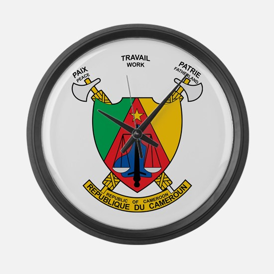 Cameroon Coat of Arms Large Wall Clock