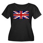 Union Jack Women's Plus Size Scoop Neck Dark T-Shi