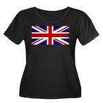 Union Jack Women's Plus Size Scoop Neck Dark T-Shi