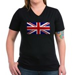 Union Jack Women's V-Neck Dark T-Shirt