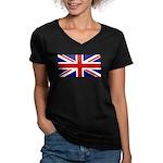 Union Jack Women's V-Neck Dark T-Shirt