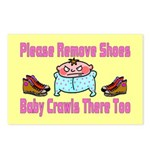 Remove Shoes Baby Crawling Postcards (Package of 8