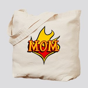 MOM with Flaming Heart Tote Bag