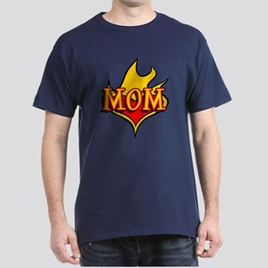 MOM with Flaming Heart Dark T-Shirt