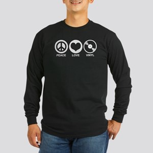 Peace Love Vinyl Long Sleeve Dark T-Shirt