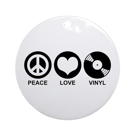 Peace Love Vinyl Ornament (Round)