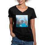 Shark Knight Women's V-Neck Dark T-Shirt