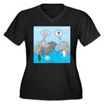 Shark Knight Women's Plus Size V-Neck Dark T-Shirt