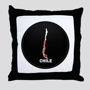 Flag Map of Chile Throw Pillow