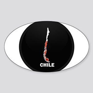 Flag Map of Chile Oval Sticker