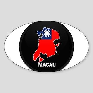 Flag Map of China MACAU Oval Sticker
