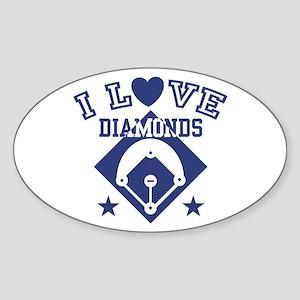 I Love Diamonds Oval Sticker