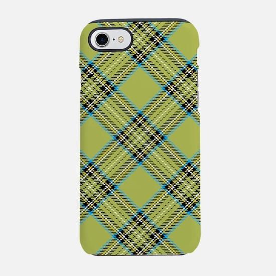 Light Green Plaid Pattern iPhone 7 Tough Case