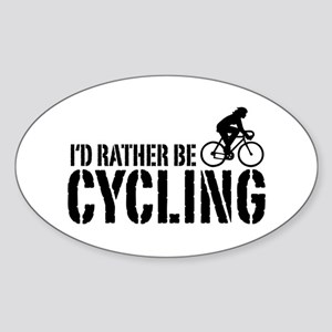 I'd Rather Be Cycling (Female) Oval Sticker