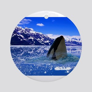 The Orca Whale In The Arctic Round Ornament