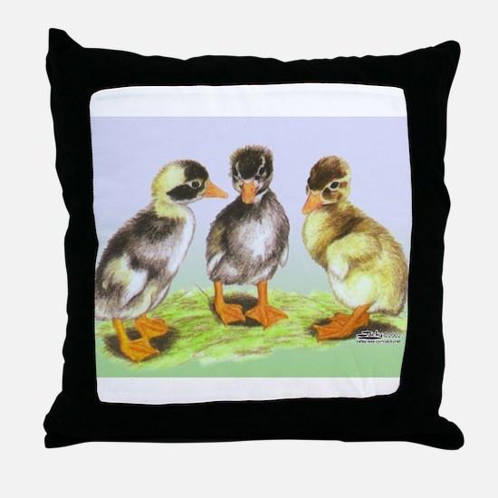 Runner Duck Ducklings Throw Pillow