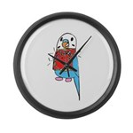 Buddie the Budgie Celebrates Large Wall Clock