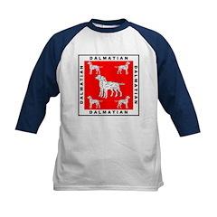 Dalmatian w/Red Background Kids Baseball Jersey