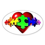 3D Heart Puzzle Oval Sticker