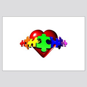 3D Heart Puzzle Large Poster