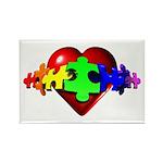 3D Heart Puzzle Rectangle Magnet (10 pack)