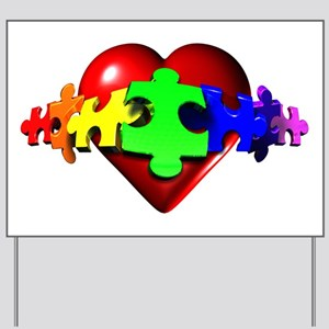 3D Heart Puzzle Yard Sign