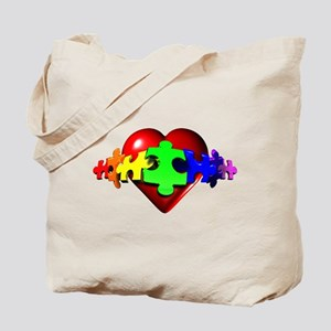 3D Heart Puzzle Tote Bag
