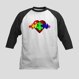 3D Heart Puzzle Kids Baseball Jersey