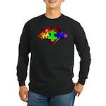 3D Heart Puzzle Long Sleeve Dark T-Shirt