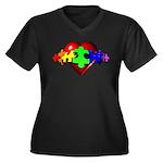 3D Heart Puzzle Women's Plus Size V-Neck Dark T-Sh