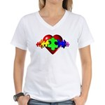 3D Heart Puzzle Women's V-Neck T-Shirt