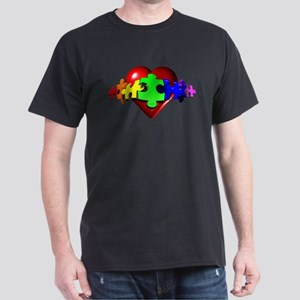 3D Heart Puzzle Dark T-Shirt
