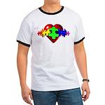 3D Heart Puzzle Ringer T