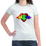 3D Heart Puzzle Jr. Ringer T-Shirt