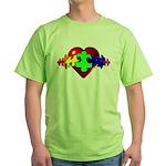 3D Heart Puzzle Green T-Shirt