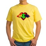 3D Heart Puzzle Yellow T-Shirt