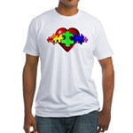 3D Heart Puzzle Fitted T-Shirt