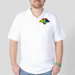3D Heart Puzzle Golf Shirt