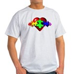 3D Heart Puzzle Light T-Shirt