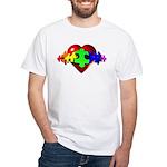 3D Heart Puzzle White T-Shirt