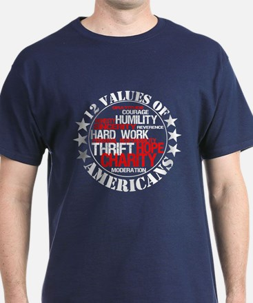 """12 Values of Americans "" T-Shirt"