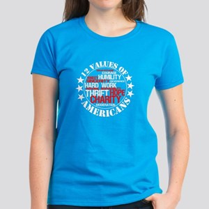 """12 Values of Americans "" Women's Dark T-Shirt"