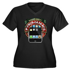 Mobile Widget Women's Plus Size V-Neck Dark T-Shir