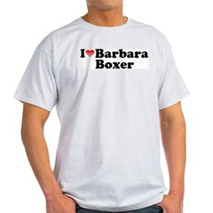 I Love Barbara Boxer Ash Grey T-Shirt