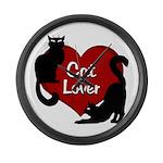 Fat Cat & Cat Lover Large Wall Clock