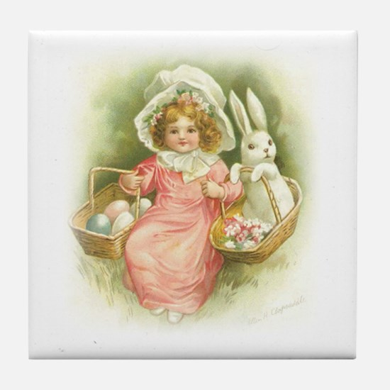 """Cute Easter Bunny"" Tile Coaster"