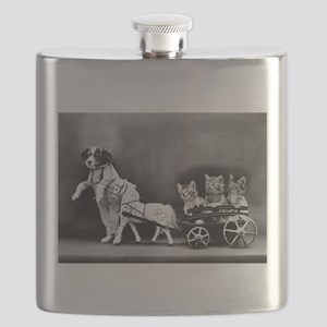 Dog Pulling Kittens In A Little Wagon Flask