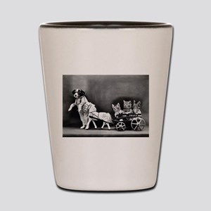 Dog Pulling Kittens In A Little Wagon Shot Glass